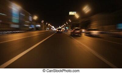 Night street driving - Moscow, Leninsky prospect