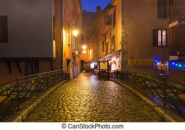 Night street in Old Town of Annecy, France