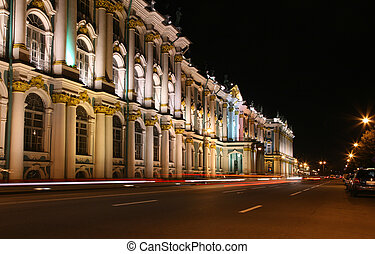 Night street in St. Peterburg. Hermitage