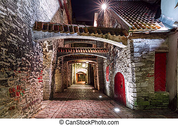 Night street in the Old Town of Riga, Latvia - Medieval...