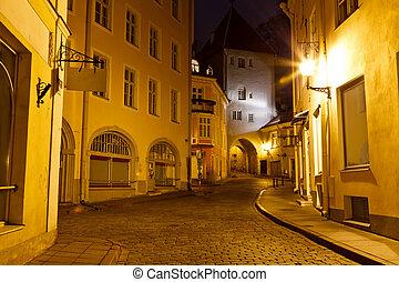 Night Street in the Old Town of Tallinn, Estonia