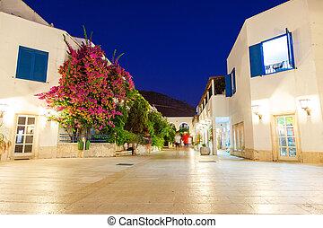 Night street in the town of Budva. Montenegro, Balkans, Europe. Beauty world.