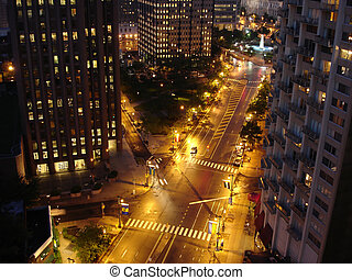 Night Street - Big City 6-way Crossroad lit with Night...