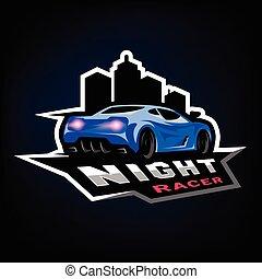 Night street racer, emblem, logo. - Night street racer,...