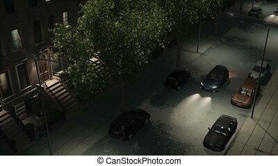 Night street with brownstones and cars loopable - Overhead...