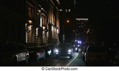 Night street with cars at night in Moscow in 2015