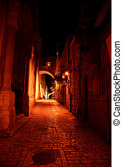 Night streets in jerusalem - Romantic night streets in old...