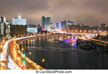 Night streets of Moscow in the spring
