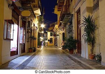 Empty night streets in Nafplio, Greece.
