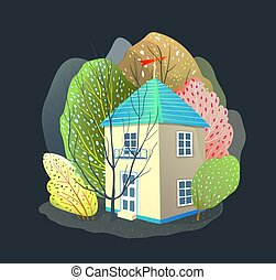 Night Summer House Nature Landscape Watercolor Style