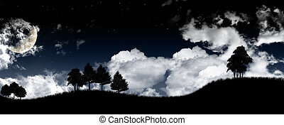 Night sunrise landscape with the moon, trees silhouette, stars