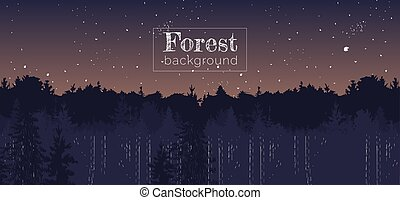 Night sunset on forest landscape panorama background