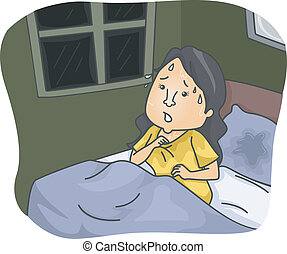 Night Sweat - Illustration Featuring a Woman Soaked with...