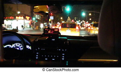 night taxi ride - Shot of night taxi ride