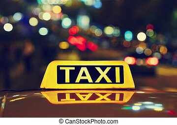 Night taxi - Taxi car on the street at night