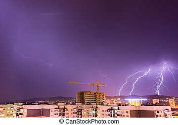 Night thunderstorm with lightning over the city resort of Anapa, Russia