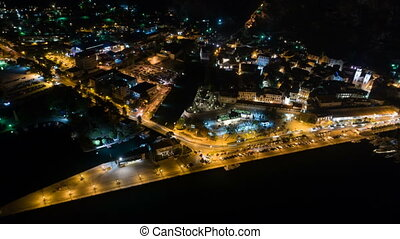 Night time aerial view of Kotor in Montenegro, time lapse