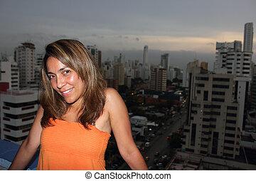 Night time beautiful Colombian woman