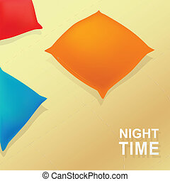 Night time cartoon concept with pillows and blanket. EPS 10
