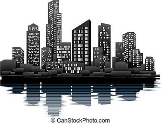 A vector illustration of a night time city skyline
