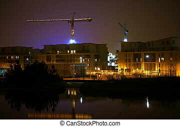 Night-time construction site
