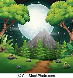 Night time forest landscape with a Full moon and a Starry sky