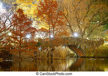 Night time image of Gapstow Bridge in New York City?s Central Park at night