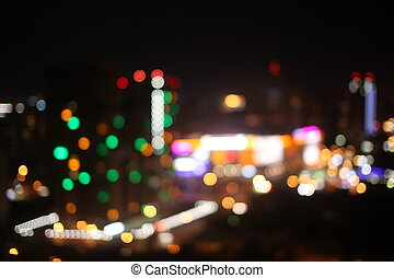 Night time in the city. Out of focus with blurry. unfocused lights.
