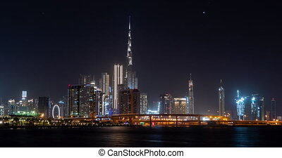 night time-lapse big city view