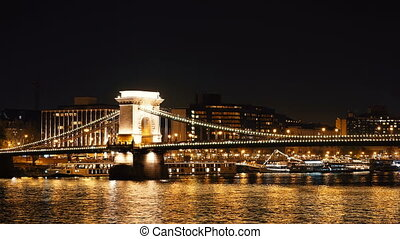 Night time-lapse. Budapest with the Danube and Chain Bridge, Hungary. Aerial view of Budapest. Hungary. Time-lapse.