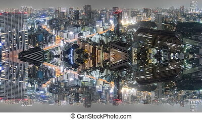 Night Time-Lapse of downtown in Tokyo, aerial view reflection