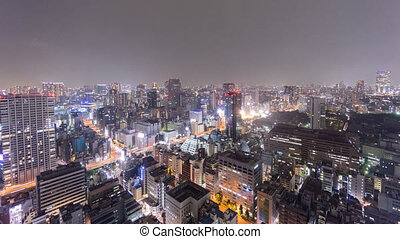 Night Time-Lapse of downtown in Tokyo