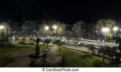 Night time lapse of Monument to Admiral Senyavin.