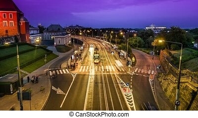 night time lapse of road from bridge