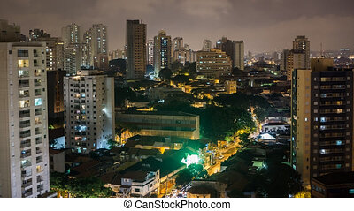 Sao Paulo skyline - Night Time Lapse of Sao Paulo skyline,...