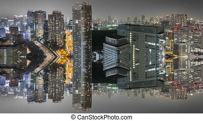 Night Time-Lapse reflection of downtown in Tokyo