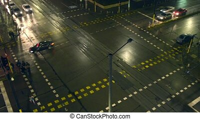 Night Time Led Junction Crossroad - A night time road...
