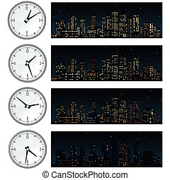 Night Time, Midnight City Skyline. Set of Illustrations