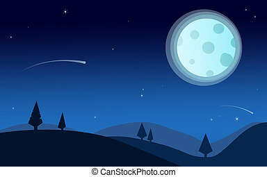 Night time nature landscape with full moon