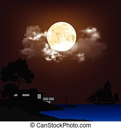 Ocean shoreline with a coastline property and sailing ship against a cloudy moonlit sky background