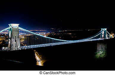 Night time shot of the world famous Clifton Suspension Bridge.