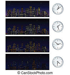 Night Time Skyline. Set of Vector Illustrations