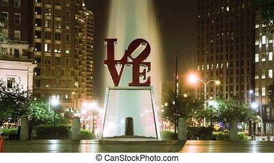 Night timelapse of Love Park of Philadelphia - Night...