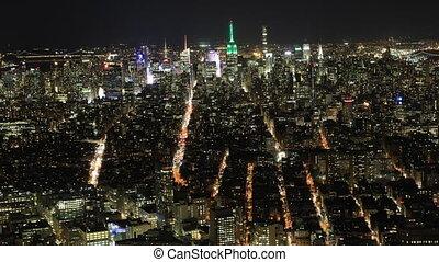 Night timelapse of lower Manhattan