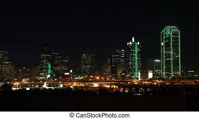 Night timelapse of the Dallas skyline