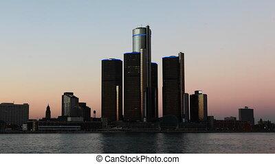 Night timelapse of the Detroit skyline