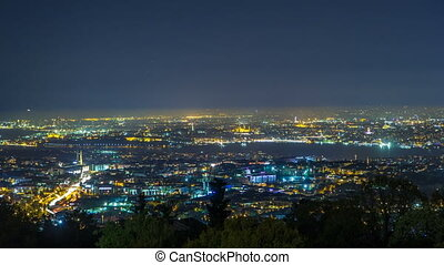 Night timelapse top view of besiktas district in istanbul taken from asian part of the city.