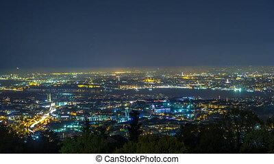 Night timelapse top view of besiktas district in istanbul...