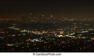 Night timelapse view of Los Angeles, California