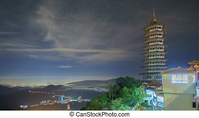 Night Tmelapse At Chin Swee Temple, Malaysia With Rolling...